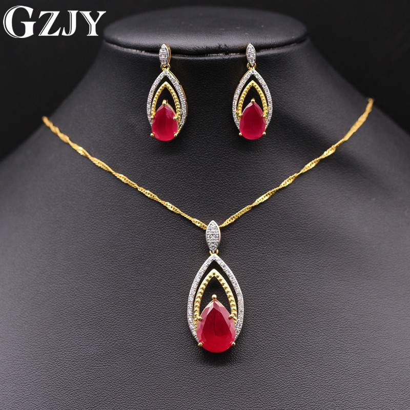 GZJY Exquisite Jewelry Set Double Gold Color Red&Green Zircon Pendant Necklace Earrings Set For Women Wedding Party Jewelry