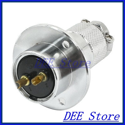 Flange Mounting P25-2 Core 25mm 2 Pin CNC Metal Aviation Connector