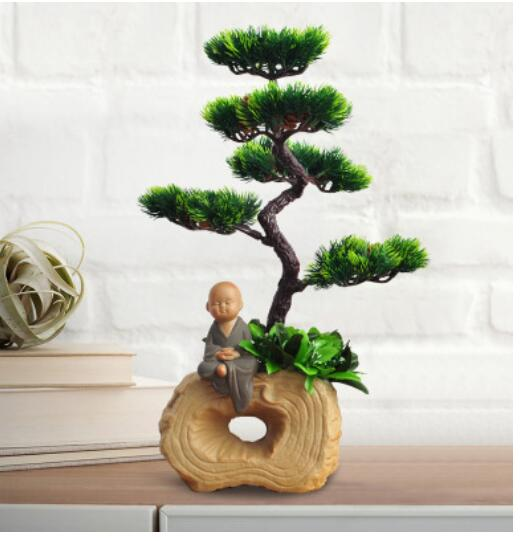 visitor green pines Home decoration Place piece Chinese style decorates evergreen false flower Elegant wind welcome pine bonsai